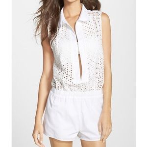 NWT $154 Red Carter Eyelet Coverup Romper Sz S